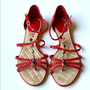 Red Braided Leather Gemstone Charm Chanel Sandals
